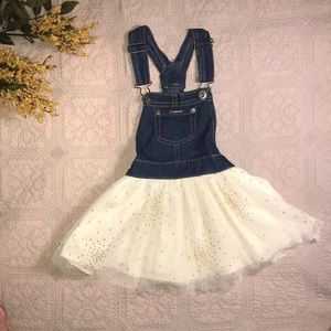 Jordache Overall Dress Sparkling Tulle Skirt